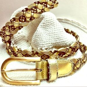 Faux leather braided belt shades of gold & bronze